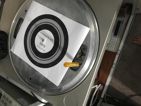 Stobe disc on turntable