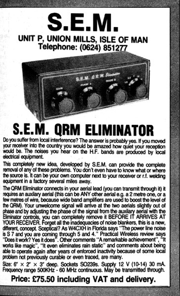 Advert for QRM Eliminator